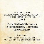 Report of the Meteorological Department 1862